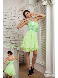 Sweet Yellow Green Empire Prom / Homecoming Dress One Shoulder Chiffon Beading Mini-length