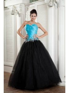 The Brand New Style Baby Blue and Black A-line Sweetheart Prom Dress Tulle Appliques Floor-length