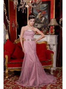 Wonderful Light Pink Prom / Evening Dress Mermaid Strapless Organza Beading Brush Train