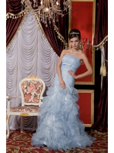 2013 Baby Blue Prom / Evening Dress Mermaid Strapless  Organza Belt and Ruffles Floor-length