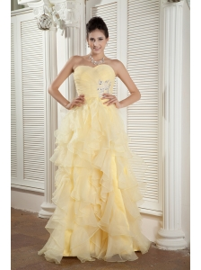 2013 Light Yellow Prom / Evening Dress Empire Sweetheart Organza Ruffles and Beading Floor-length