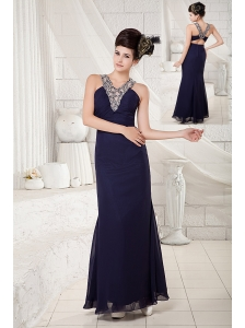 Affordable Navy Blue Column Evening Dress V-neck Chiffon Beading Ankle-length