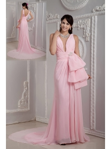 Baby Pink Empire V-neck Prom Dress Chiffon Beading Court Train