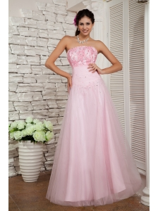 Beautiful Baby Pink A-line Strapless Prom / Evening Dress Tulle Beading Floor-length
