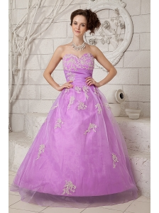 Beautiful Lavender Prom Dress A-line Sweetheart Tulle Appliques Floor-length