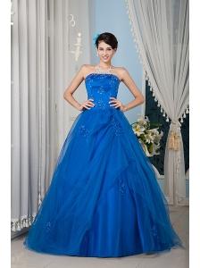 Beautiful Royal Blue 15 Quinceanera Dress A-line / Princess Strapless Tulle Beading Floor-length