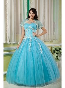 Cheap Aqua Ball Gown 15 Quinceanera Dress Sweetheart Tulle Appliques Floor-length
