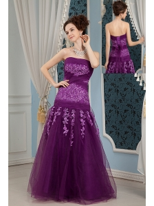Cheap Elegant Purple Prom Dress Column Strapless  Embroidery Floor-length Tulle