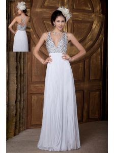 Classical Empire V-neck Prom Dress Chiffon Beading Floor-length