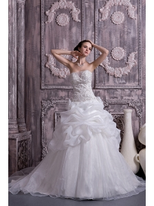 Custom Made A-line / Princess Wedding Dress Strapless Organza Beading and Pick-ups Chapel Train