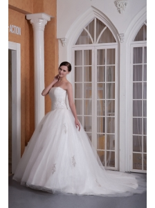 Custom Made A-line Strapless Wedding Dress Taffeta and Organza Appliques Chapel Train
