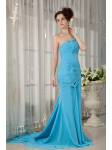 Custom Made Aqua Blue Empire One Shoulder Prom / Evening Dress Chiffon Ruch Brush Train