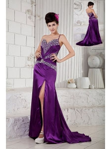 Custom Made Eggplant Purple Empire Evening Dress One Shoulder Taffeta Beading Brush Train