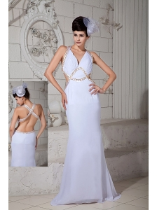 Custom Made White Empire V-neck Prom Dress Chiffon Ruch Brush Train