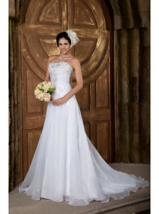 Customize A-line Strapless Wedding Dress Organza Embroidery Court Train