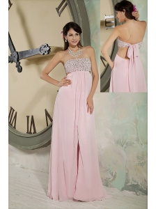 Customize Baby Pink Prom Dress Empire Strapless Chiffon Beading Floor-length