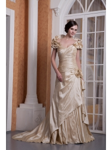 Customize Champagne A-line Sweetheart Wedding Dress Silk Like Satin Hand Made Flower Court Train