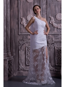 Customize Column / Sheath Prom Dress One Shoulder Appliques With Beading Watteau Train Lace