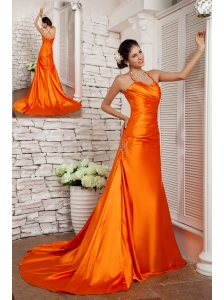 Customize Orange Red A-line Straps Prom / Evening Dress Elastic Woven Satin Beading Brush Train