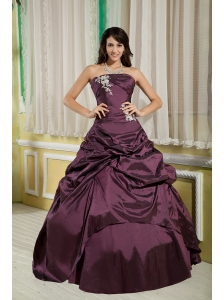 Dark Purple A-line / Princess Strapless Cute Quinceanera Dress Taffeta Appliques Floor-length