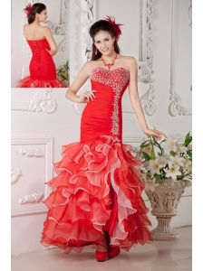 Discount Red Mermaid Prom / Evening Dress Sweetheart Organza Beading Ankle-length