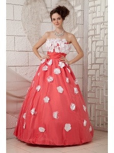 Discount Watermelon A-line Prom Dress Strapless Appliques Floor-length Taffeta