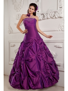 Eggplant Purple A-line Sweet 16 Dress Strapless Taffeta Beading and Pick-ups Floor-length