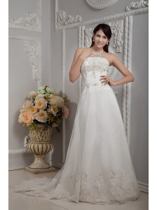 Elegant A-line Strapless Wedding Dress Appliques Lace Court Train