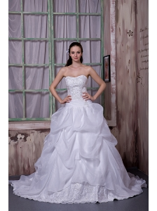 Elegant A-line Strapless Wedding Dress Taffeta and Organza Appliques Chapel Train