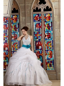 Elegant White Ball Gown Halter Quinceanea Dress Organza Sash Floor-length