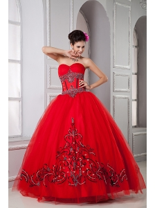 Exclusive Red Ball Gown Sweetheart Quinceanera Dresses Tulle Beading Floor-length