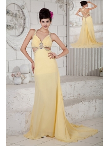 Exquisite Light Yellow Empire Evening Dress Straps Chiffon Beading Brush Train