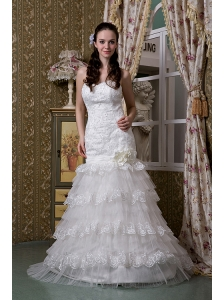 Fashionable A-line Wedding Dress Sweetheart Taffeta and Lace Ruffled Layers Brush Train
