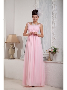 Fashionable Baby Pink Empire Scoop Prom Dress Chiffon Beading Floor-length