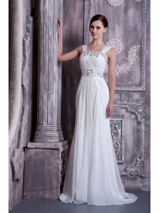 Fashionable Empire Straps Wedding Dress Beading Chiffon Brush Train