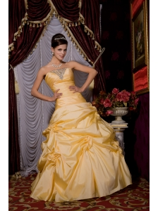 Gold 2013 Sweet 16 Dress A-line Strapless Tafftea Beading Floor-length