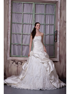 Gorgeous A-line Strapless Wedding Dress Taffeta and Lace Appliques and Hand Made Flower Chapel Train