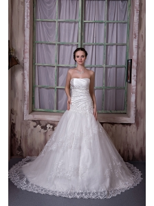 Gorgeous A-line Strapless Wedding Dress Taffeta and Lace Appliques Chapel Train