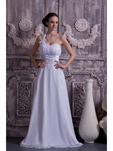 Lovely Empire One Shoulder Wedding Dress Chiffon Ruch Court Train