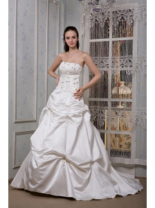 Luxurious A-line Strapless Wedding Dress Taffeta Appliques and Beading Court Train