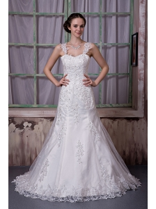 Luxurious A-line Straps Wedding Dress Taffeta and Lace Beading Court Train