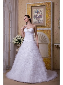 Modest A-line One Shoulder Wedding Dress Satin and Tulle Appliques Brush Train