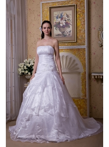 Modest A-line Strapless Court Train Taffeta and Organza Hand Made Flower Wedding Dress