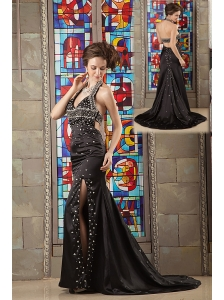 Modest Black Column Evening Dress Halter Taffeta Beading Brush Train