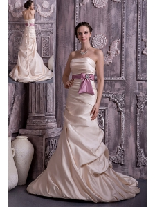 Modest Champagne Prom Dress A-line / Princess Strapless Belt and Beading Satin Brush Train