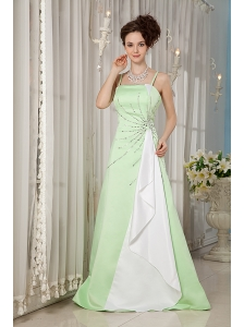 Popular Yellow Green A-line Evening Dress Straps Satin Beading Brush Train