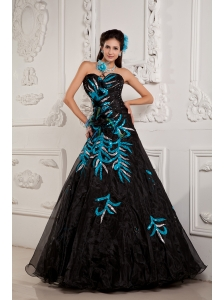 Pretty Black A-line / Princess Prom Dress Sweetheart  Beading and Appliques Floor-length Chiffon