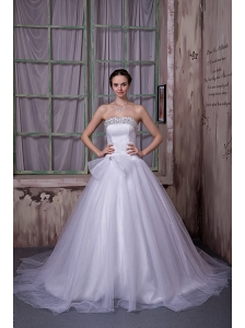 Simple A-line Strapless Wedding Dress Beading Satin and Tulle Chapel Train