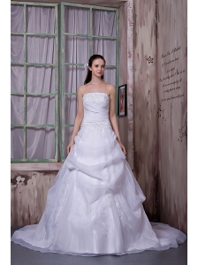 Simple A-line Strapless Wedding Dress Taffeta and Organza Chapel Train Appliques