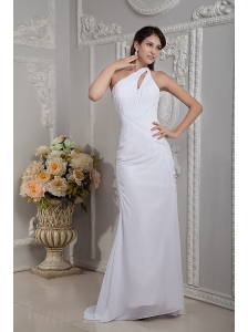 Simple Column One Shoulder Wedding Dress Chiffon Ruch Brush Train